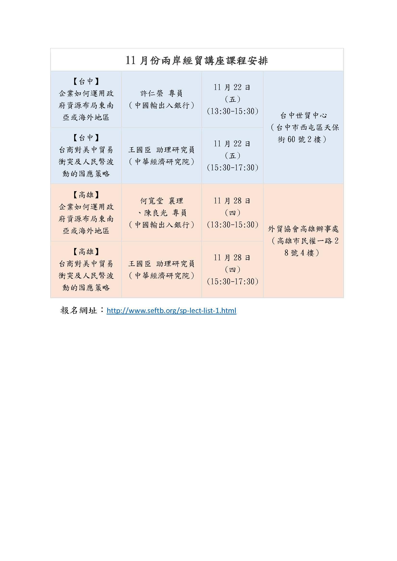 圖片說明-台中分行、高雄分行與海基會訂於11月22日及11月28日,安排二場兩岸經貿講座課程